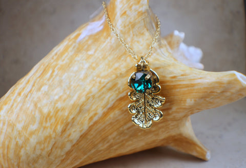 Real Gold Oak Leaf Pendant With Emerald Swarvorski Crystal