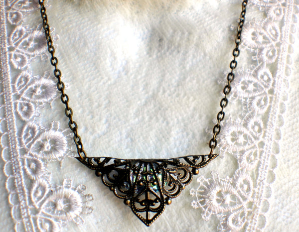 Triangle jewel necklace, bronze filigree triangle surrounds blue glass jewel. - Char's Favorite Things - 4
