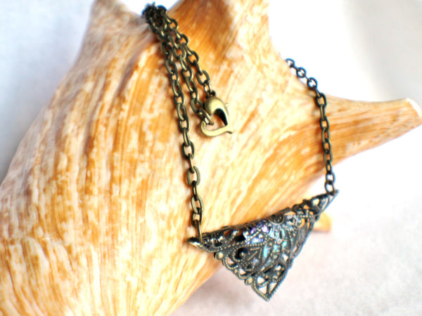 Triangle jewel necklace, bronze filigree triangle surrounds blue glass jewel. - Char's Favorite Things - 3