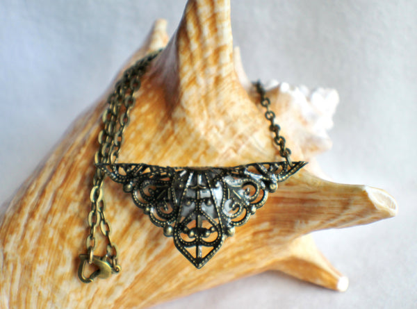 Triangle jewel necklace, bronze filigree triangle surrounds blue glass jewel. - Char's Favorite Things - 5