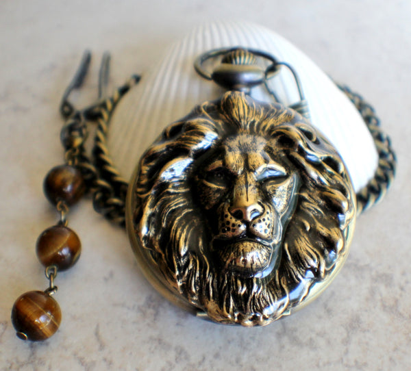 Lion Head Mechanical Pocket Watch - Char's Favorite Things - 3