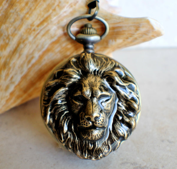 Lion Head Mechanical Pocket Watch - Char's Favorite Things - 1
