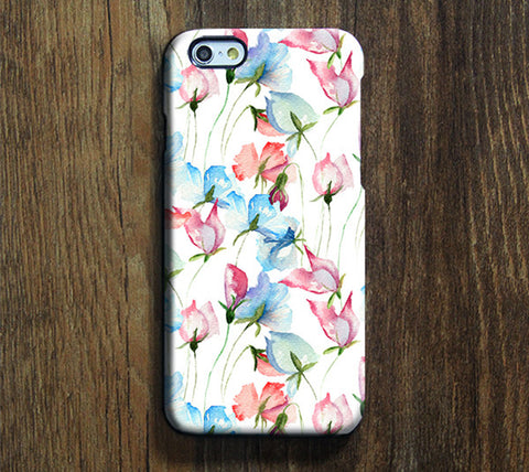 Pink and Blue Floral Pattern iPhone 6 Plus/6/5S/5C/5/4S/4 Dual Layer Tough Case #286 - Acyc - 1