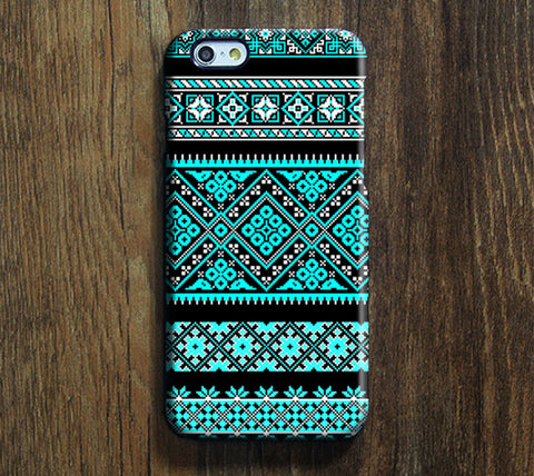 Black and Blue Floral Pattern iPhone 6S/6 /Plus/5S/5C/5/4S/4 Dual Layer Durable Tough Case #339 - Acyc - 1