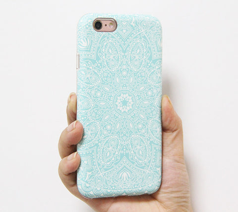 Blue Damask Floral iPhone 6s 6 Tough Case/Plus/5S/5C/5/SE Protective Case #922 - Acyc - 1
