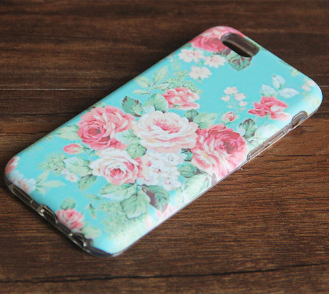 Art Faded Color Floral iPhone 6s 6 Case/Plus/5S/5C/5/4S Dual Layer Durable Tough Case #977 - Acyc - 1