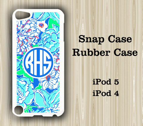 Abstract Green Blue Floral Monogram iPod Touch 5 Case iPod Touch 4 Case - Acyc - 1