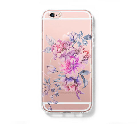 Pastel Pink Floral iPhone 6s 6 Clear Case iPhone 6 plus Cover iPhone 5s 5 5c Transparent Case Galaxy S6 Edge S6 S5 Case - Acyc - 1