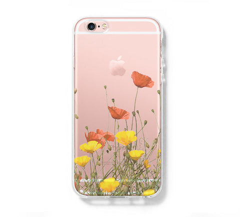 Wild Flowers iPhone 6s 6 Clear Case iPhone 6 plus Cover iPhone 5s 5 5c Transparent Case Galaxy S6 Edge S6 S5 Case - Acyc - 1