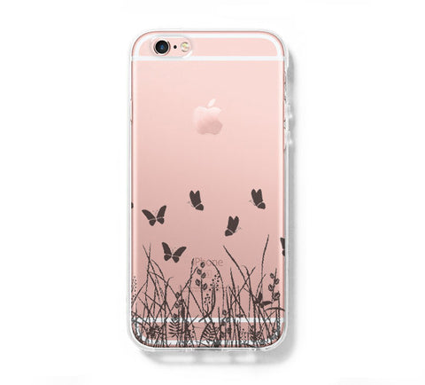 Butterfly Grass iPhone 6s 6 Clear Case iPhone 6 plus Cover iPhone 5s 5 5c Transparent Case Galaxy S6 Edge S6 S5 Case - Acyc - 1