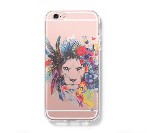 Art Lion Face iPhone 6s 6 Clear Case iPhone 6S/6 Plus Cover iPhone 5s 5 5c Transparent Case Galaxy S6 Edge S6 S5 Case - Acyc - 1