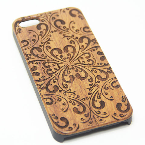 Classy Floral Natural Wood Engraved iPhone 6s Case iPhone 6s plus Cover iPhone 6 5s 5 Real Wooden Case - Acyc - 1