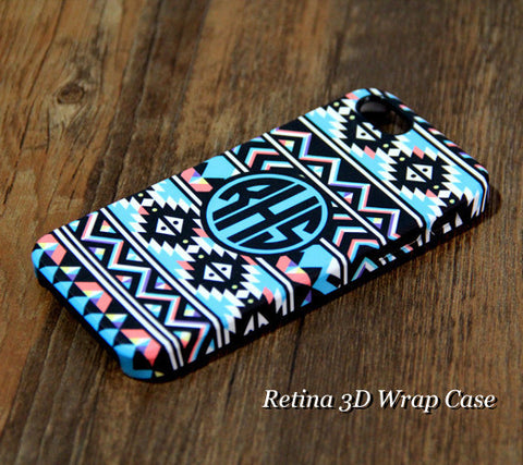 Ethnic Teal Striped Custom Monogram iPhone 6s Plus 5S 5 5C 4 Dual Layer Durable Tough Case #931 - Acyc - 1