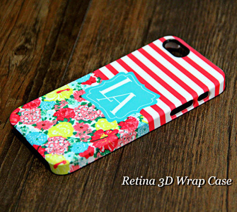 Red Stripes Floral Monogram iPhone 6s Plus 6 5S 5 5C 4 Dual Layer Durable Lough Case#924 - Acyc - 1