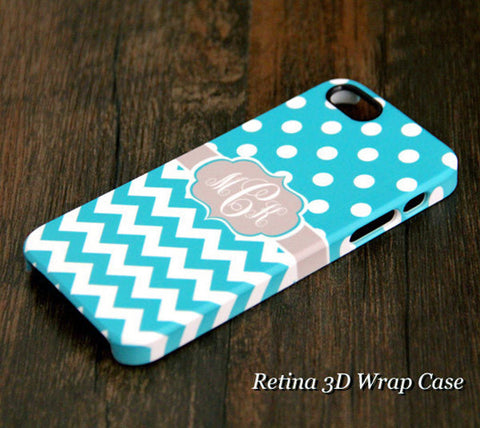 Turquoise Polka Dots Chevron Monogram iPhone 6S 6 Plus 6 5S 5C 5 4 Dual Layer Durable Tough Case #962 - Acyc - 1