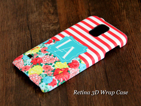 Stripes Floral Monogram Samsung Galaxy S6 Edge Plus/S6 Edge / S6/ S5/Note 5/Note 4  Protective Case - Acyc - 1