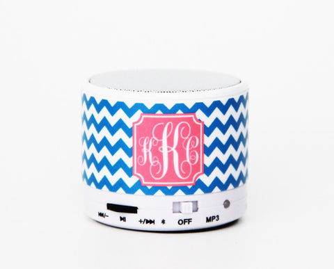 Bright Blue Chevron Personalized Custom Monogram Wireless Bluetooth Mini Speaker for iPhone 6S/6 and Samsung S7 S6 - Acyc - 1