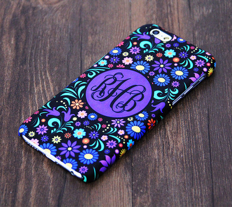 Violet Floral Monogram iPhone 6S 6 Plus 5S 5 5C Dual Layer Durable Tough Case #993 - Acyc - 1