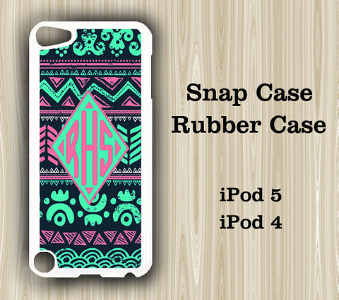 Light Green Pink Ethnic Monogram iPod Touch 5 Case iPod Touch 4 Case - Acyc - 1
