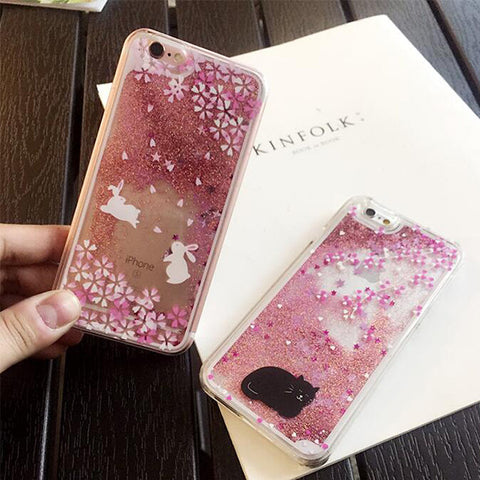 Floral Pink Cute Cat Glitter Bling with Quicksand Case Cover for iPhone 6S 6 Transparent Clear Protective Case S006 - Acyc - 1