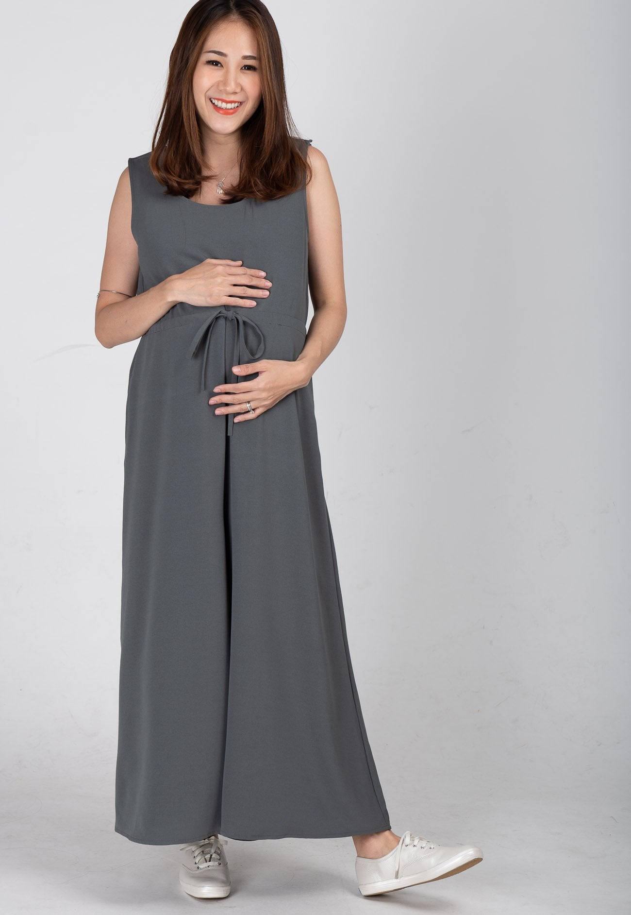 Ariella Nursing Jumpsuit in Dark Grey  by Jump Eat Cry - Maternity and nursing wear