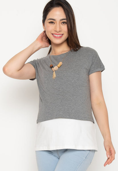 Two Tone Layered Nursing Top in Grey and White