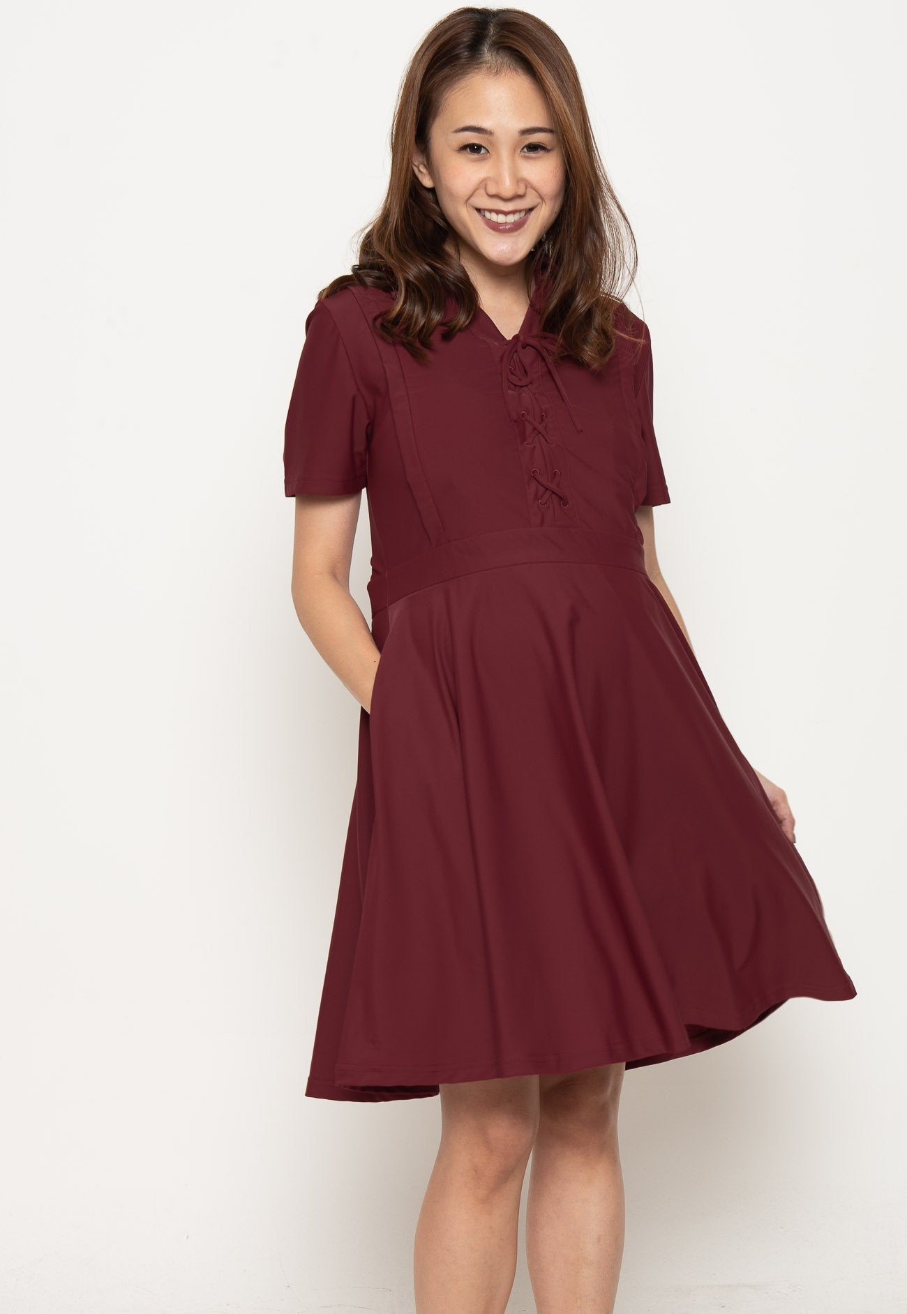 Crisscross Lace Nursing Dress in Red  by Jump Eat Cry - Maternity and nursing wear