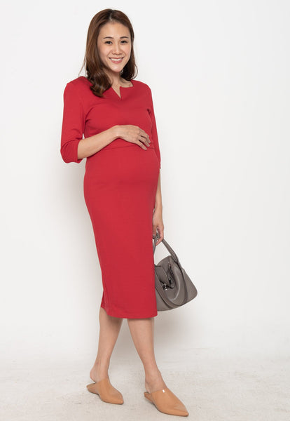 Wilma Workwear Nursing Dress in Red