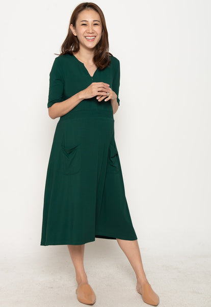 Clio Zipped Down Nursing Dress in Dark Green