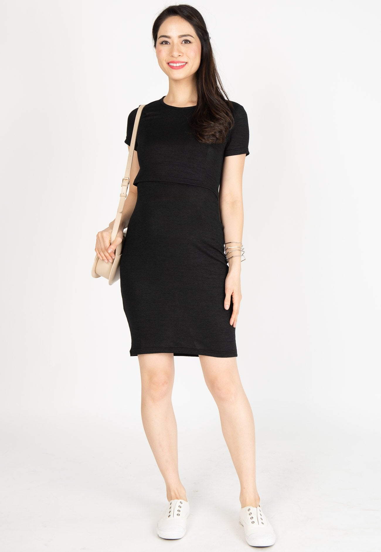 Ever Comfort Nursing Dress in Black  by Jump Eat Cry - Maternity and nursing wear
