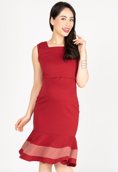 Vesper Mermaid Nursing Dress in Red