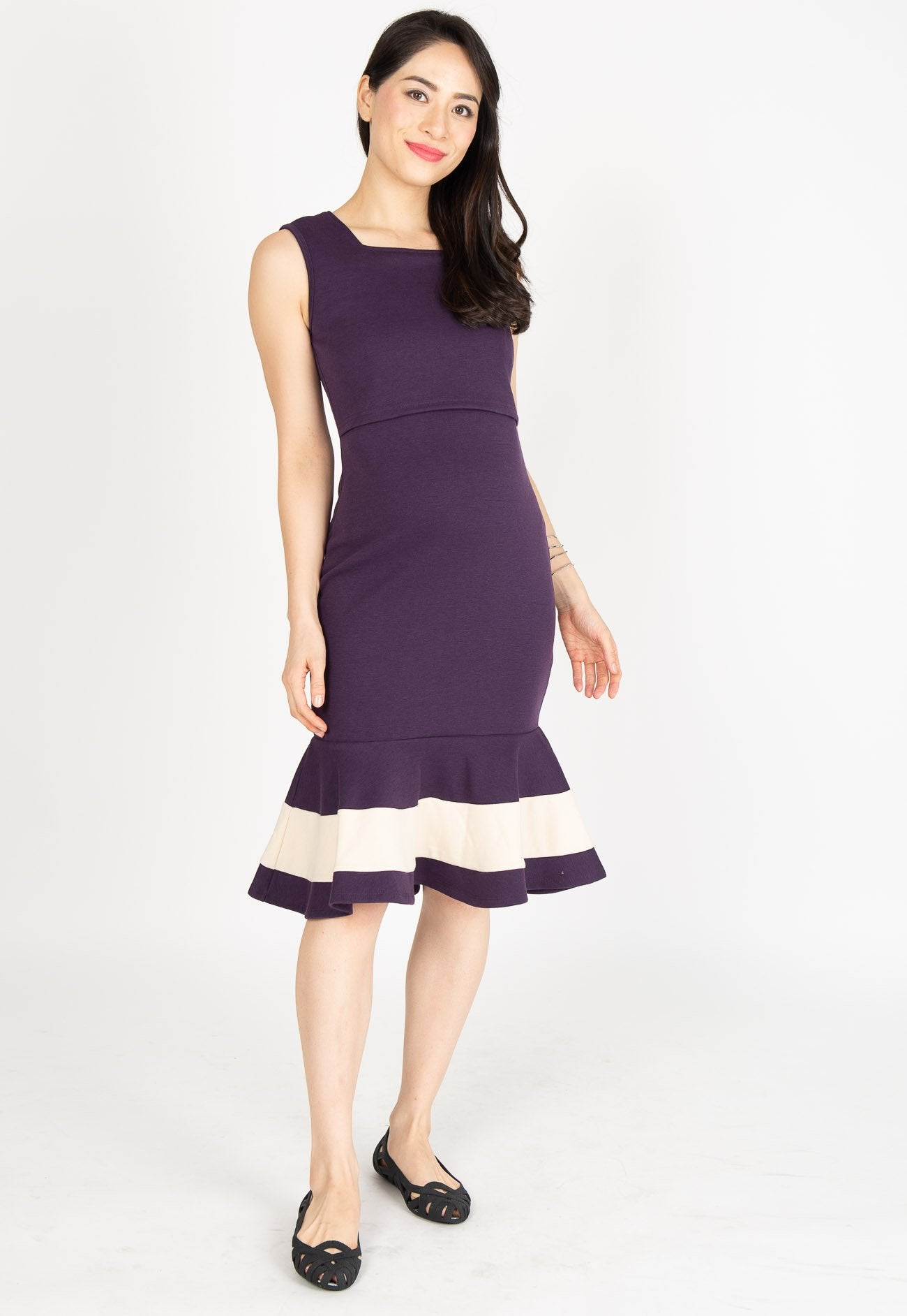 Vesper Mermaid Nursing Dress in Purple Nursing Wear Mothercot
