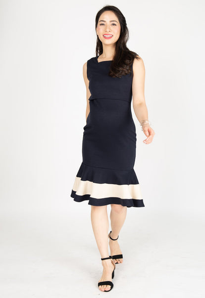 Vesper Mermaid Nursing Dress in Navy