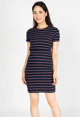 Sporty Stripes Nursing Dress in Blue Nursing Wear Mothercot