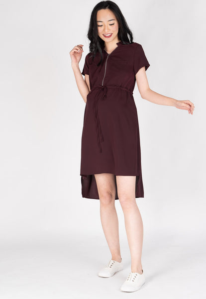 Love And Laughter Nursing Dress in Maroon