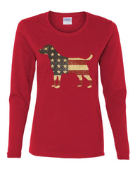 American Dog Women's Long Sleeve Tee Stars and Stripes Retriever Bulldog Pitbull