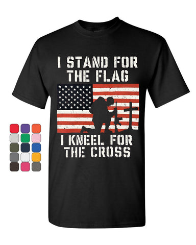 I Stand for the Flag I kneel for the Cross T-Shirt Patriot Cotton Tee