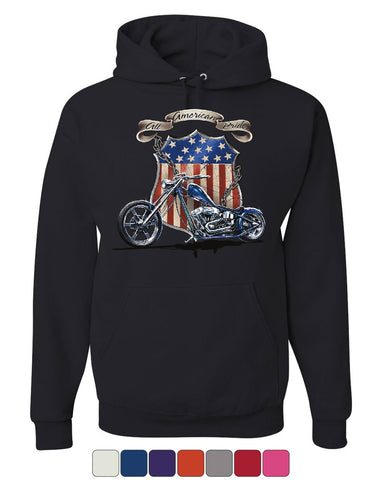 All American Pride Route 66 Hoodie Biker Chopper Ride or Die Sweatshirt