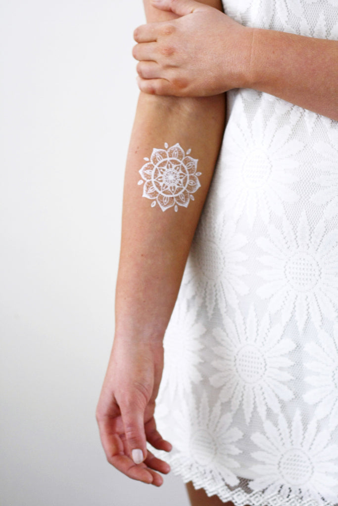 White mandala temporary tattoo - a temporary tattoo by Tattoorary