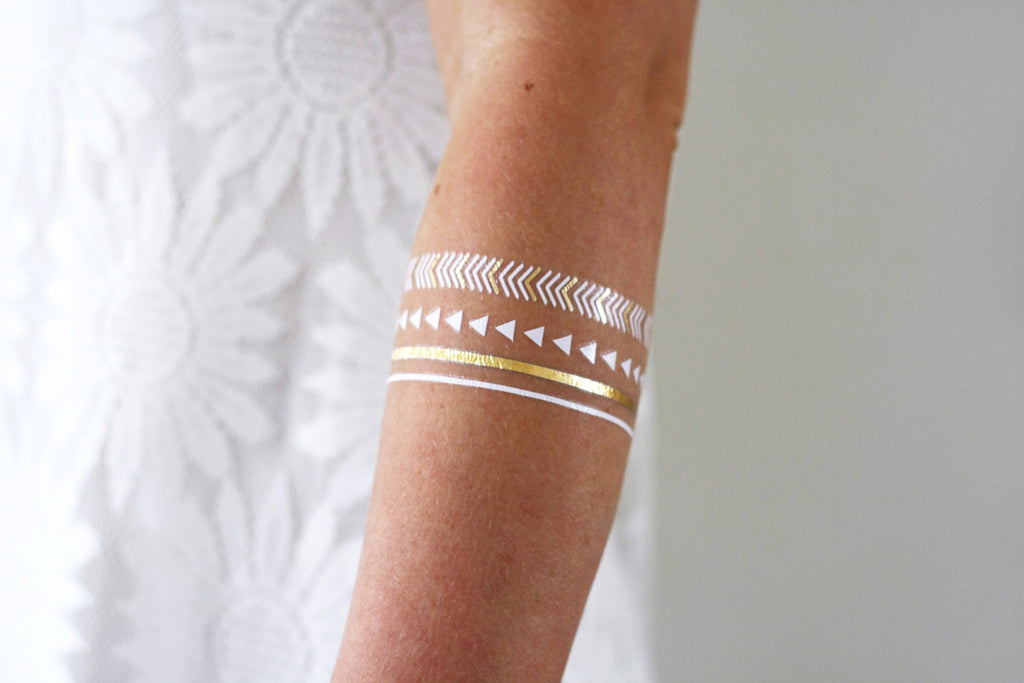 Gold boho temporary tattoo - a temporary tattoo by Tattoorary