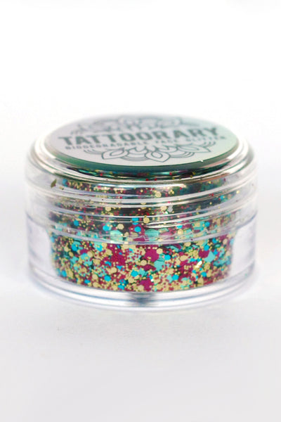 Biodegradable chunky face glitter in 'Disco' - a temporary tattoo by Tattoorary