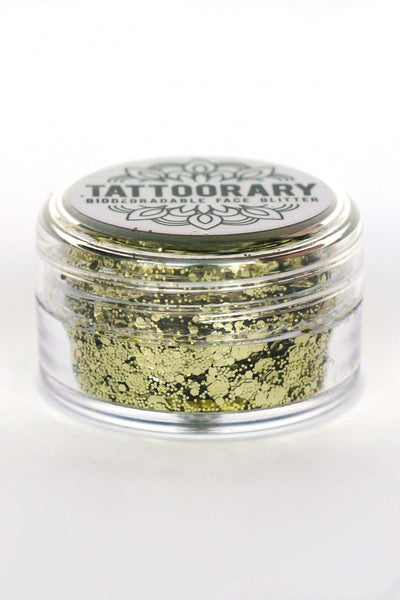 Biodegradable chunky face glitter in 'Sun Kissed' (Gold) - a temporary tattoo by Tattoorary