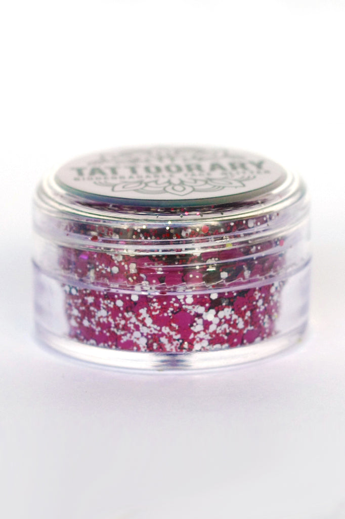 Biodegradable chunky face glitter in 'Lollipop' - a temporary tattoo by Tattoorary