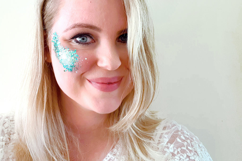 Biodegradable chunky face glitter in 'Ocean' - a temporary tattoo by Tattoorary
