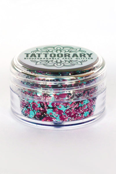 Biodegradable chunky face glitter in 'Unicorn' - a temporary tattoo by Tattoorary