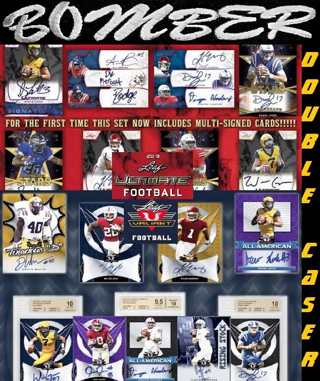 Nearly 100 Autos! 2019 Leaf Ultimate/Valiant Football 98 Autographs Double Case Break - Random Team #1 - Live 7/14/19
