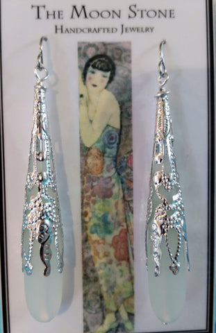 1920s Sea Glass Drop Earrings ~ Moonstone