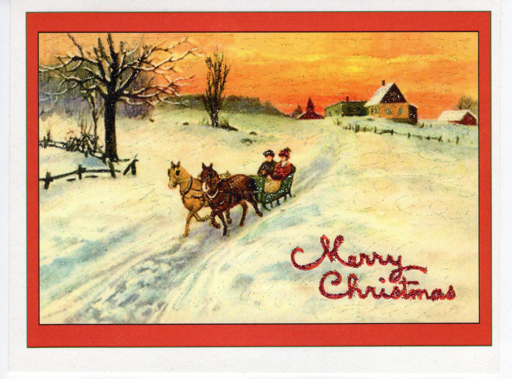 Merry Christmas Sleigh Ride Glitter Card