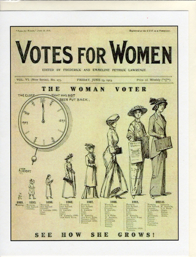 Votes for Women: The Clock of the Woman Voter Note Card