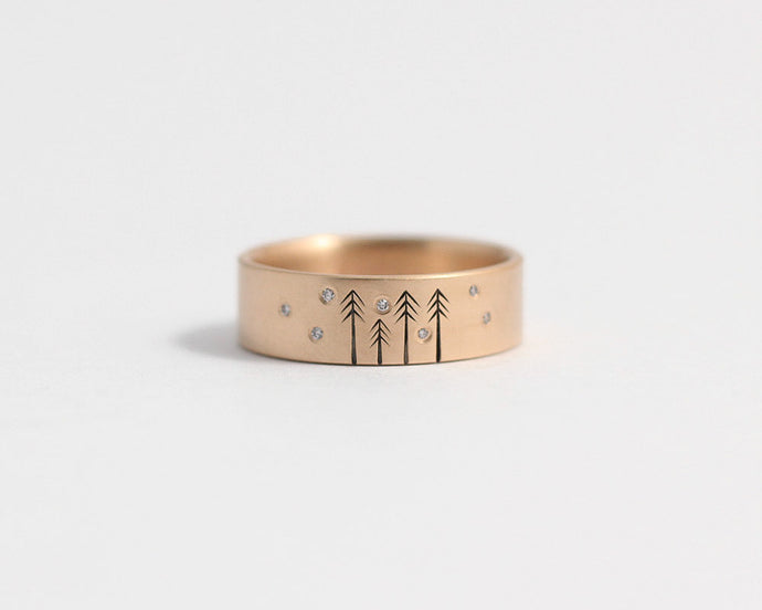 Snow on Pines Ring in Rose Gold, [product_type} - Ash Hilton Jewellery
